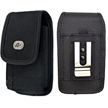 Vertical Rugged Canvas Case Cover Holster with Fixed Belt Clip and Belt Loop FOR LG 500G* Fits phone w/ DUAL Thick Layer Case on it *