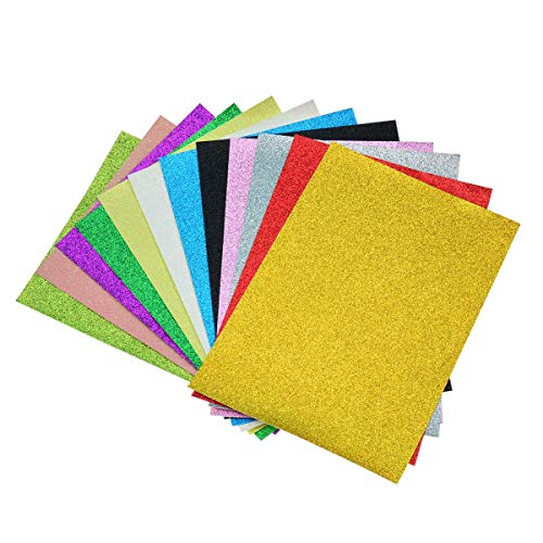- Glitter Fabric Faux Leather Sheets- 12 Pieces Assorted Colors A5 Size(8X6 Inch)Shiny Glitter Canvas Sheets for Bows, Earrings, Hair Accessories Making(12 Colors, Each Color One Sheet)