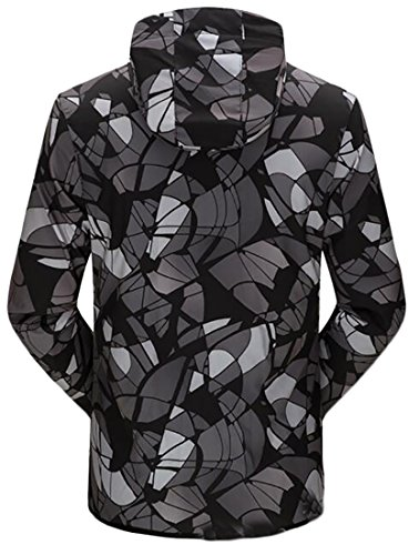 Print Simple Jacket Geometric 1 Hooded UK Casual Lightweight Mens today wHqO0XF