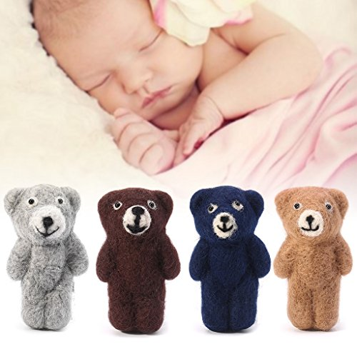 (BKID Felt Knit Bear Infant Handmade Toy Baby Photography Precious Memories of Babies Props Newborn Photo Outfits Props Baby Shoot Props Accessories)