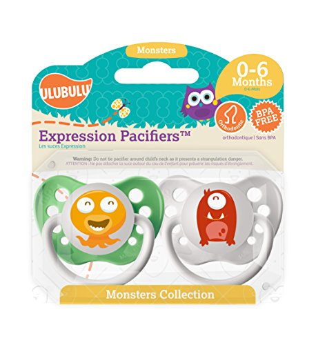 2 Sets Of Ulubulu Expression Pacifiers , 0-6 and 6-18 Months
