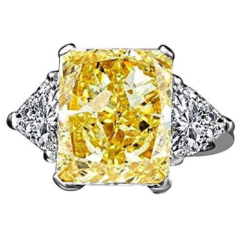 Triangular Womens Ring - 3 CT.(10x8mm) Radiant Center Classic Style Settings Sterling Silver Ring W/Two 1 CT. Triangular Sides Simulated Diamond Engagement/Wedding Sterling Silver Ring (Canary, 6)