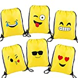 Emoji Drawstring Backpack Bags Party Favor Bags for Kids Boys and Girls (6pcs)