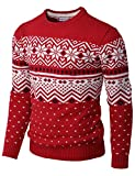 H2H Mens Casual Slim Fit Knitted Crew Neck Sweaters Thermal of Various Christmas Pattern RED US M/Asia L (CMOSWL052)