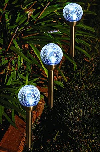 One Stop Gardens 3 Pc. Solar Glass Crackle Ball Pathway Light Set