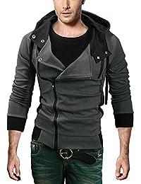 Men's Oblique Zipper Hoodie Casual Top Coat Slim Fit Jacket