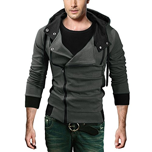 DJT Men's Oblique Zipper Hoodie Casual Top Coat Slim Fit Jacket Dark Grey M by DJT
