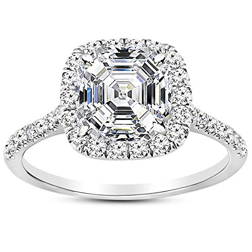 (1 Carat Platinum Halo Asscher Cut Diamond Engagement Ring (0.5 Ct D Color VVS2 Clarity Center Stone))