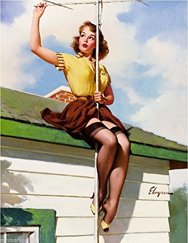 [1940s Pin-Up Girl On The Roof Picture Poster Print Vintage Art Pin Up. Poster measures 10 x 13.5] (1940s Pin Up Girl)