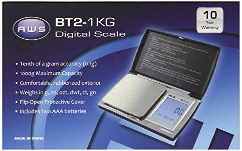American Weigh Scale Bt2-1kg Digital Gram Pocket Jewelry Scale, Black, 1000 X 0.1 G