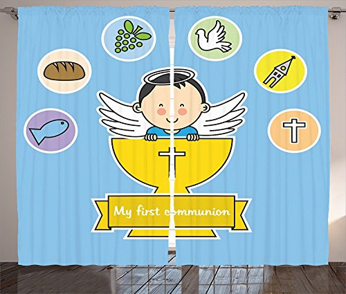 Baptism Decorations Collection My First Communion Sign Boy Baptism Grapes Cup Bread Candle Fish Wings Artwork Living Room Bedroom Curtain 2 Panels Set Yellow Blue GreenSize2 x 54W By 84H