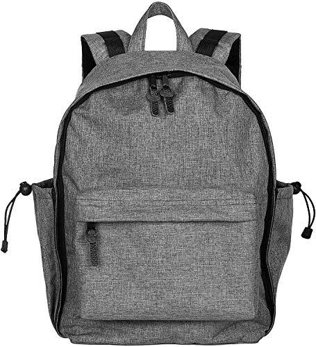 LBN Grey School Backpack - iPad, 13-15.6 inch Laptop Bookbag for Women, Men, Student Girls, Boys - Water-Resistant College Book Bag w/ 2 Side Pockets