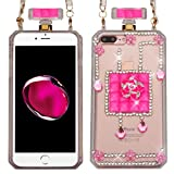 perfume distributor - Asmyna Diamante Perfume Bottle Candy Skin Cover(with Chain) for Apple iPhone 7 Plus - Little Flowers/Pink Crystals