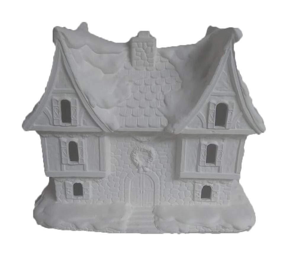 Santas Castle Village House 9'' x 9'' x 5'' Ceramic Bisque, Ready to Paint