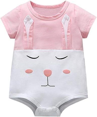 Bebé recién Nacido Niña Niño Algodón Ropa de Bebé Conejo de Dibujos Animados Impreso Manga Corta Body Recien Nacido: Amazon.es: Ropa y accesorios