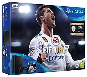 Sony Playstation 4 500Gb Slim Console Black with Fifa 18 Ultimate Team Icons And Rare Player Pack