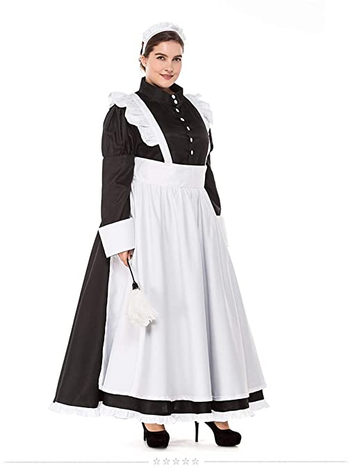 Victorian Edwardian Apron, Maid Costume & Patterns Women British Housekeeper Costume Maid Servant Black White Dress Uniform Long Apron Outfit For LadyXL $83.99 AT vintagedancer.com