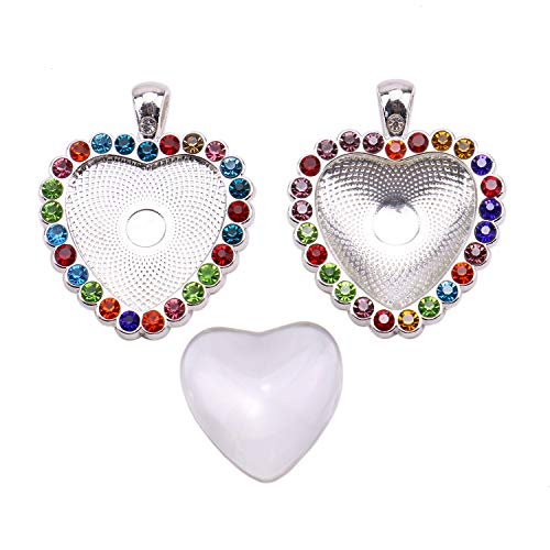 JETEHO 6Pcs Heart Rhinestone Pendant Cabochon Trays with 6 Clear Glass Cabochons for DIY Crafting Photo Jewelry Making