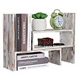 great rustic wood bookcases NEX Desktop Organizer Office Storage Rack, Rustic Torched Wood Adjustable Desktop Bookshelf Bookcase