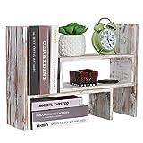 NEX Desktop Organizer Office Storage Rack, Rustic Torched Wood Adjustable Desktop Bookshelf Bookcase