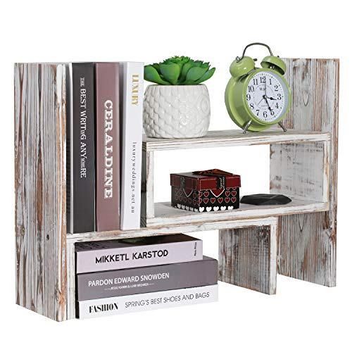 NEX Desktop Organizer Office Storage Rack, Rustic Torched Wood Adjustable Desktop Bookshelf Bookcase