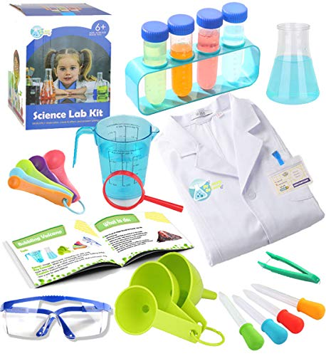 Make Beaker Halloween Costume (UNGLINGA Kids Science Experiment Kit with Lab Coat Scientist Costume Dress Up and Role Play Toys Gift for Boys Girls Kids Age 5 - 11 Christmas Birthday)
