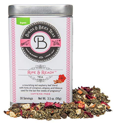 Third Trimester Tea - Organic Ripe & Ready from Birds & Bees Teas - Prepare Your Body for Birth & Labor - Delicious Red Raspberry Leaf Tea - Best for Expecting and Pregnant Mothers (~30 Servings)