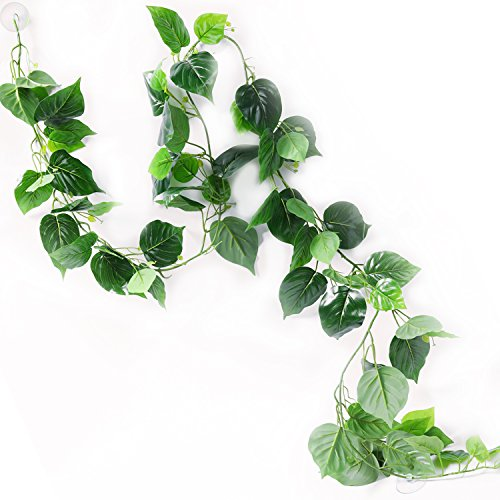 astic Reptile Vine Fake Jungle Terrarium Plants for Bearded Dragons,Lizards,Geckos,Snake Pets and Other Reptiles Amphibians Decorations,with Suction Cups,7.8 Feet Length ()