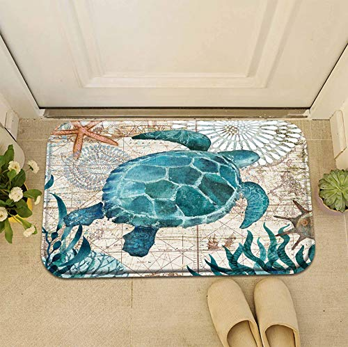 (Personalised Design Decoration Classic Cartoon Sea Turtle Doormat Entrance Mat Floor Mat Rug Front Door/Indoor/Outdoor/Bathroom/Kitchen Mats Non Slip Backing Machine Washable Carpet)
