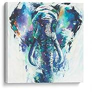 Cuadro decorativo de canvas (lienzo), Elefante a pinceladas - Animales & niños, montado en bastidor de mad