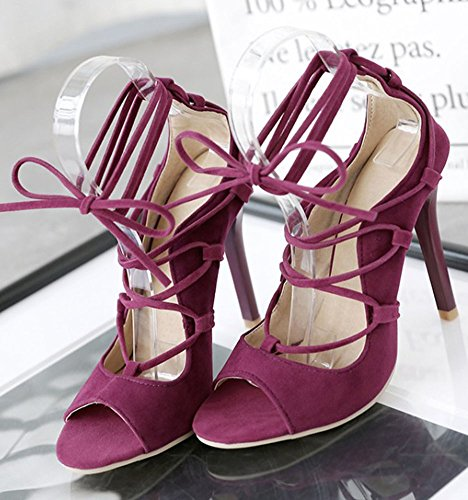 Red Ankle Peep Heel Self Tie Sexy Wrap Womens Easemax Suede Sandals High Stiletto Faux Toe Zn16Pq0