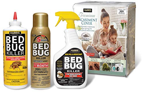 Harris Ultimate Bed Bug Kit - Queen Bed Bug Mattress Cover, 32oz Liquid Spray, 16oz Foaming Aerosol, 8oz Diatomaceous Earth Powder