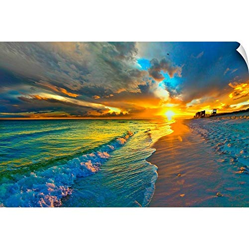 CANVAS ON DEMAND Sunset Seascape Blue Beach Landscape Wall Peel Art Print, 60