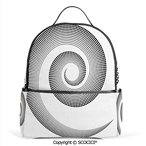 All Over Printed Backpack Spiral Dimensional Curve Turns Around an Axis Rotary Moving Parallel to Ring Center Image,Black,For Girls Cute Elementary School Bookbags ()