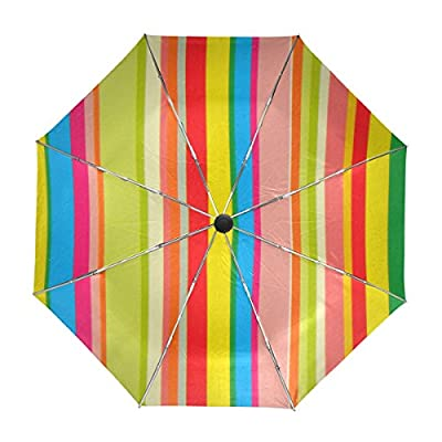 85%OFF My Daily Unique Rainbow Stripes Travel Umbrella Auto Open Close UV Protection Windproof Lightweight Umbrella