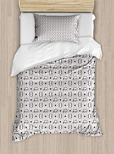 (Baseball Duvet Cover Set Twin Size Stars Caps And Vertical Lines Pattern Monochrome Arrangement Sketch Style Design,2 Piece Bedding Set With With 1 Pillowcase For Kids Bedding,Black White)