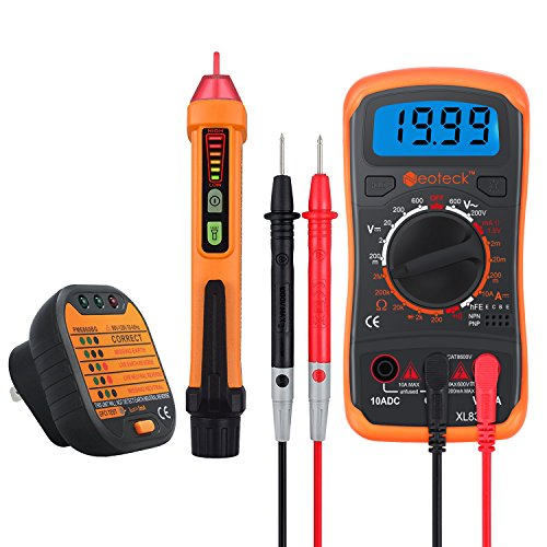 Neoteck Electrical Test Kit Includes Mini 1999 Count Digital Multimeter Non-Contact 12-1000V AC Voltage Detector Pen and Receptacle Tester for Laboratory Industry Education Factory Workshop (Mini Digital Multimeters Voltage Detector)