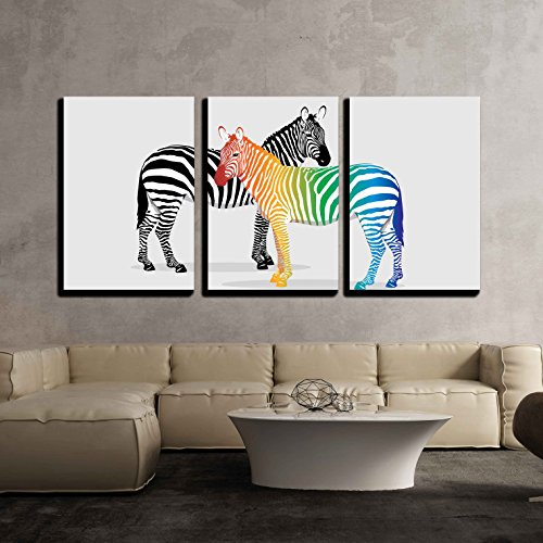 wall26 - 3 Piece Canvas Wall Art - Zebras with Multi-Colored Strips - Modern Home Decor Stretched and Framed Ready to Hang - 16
