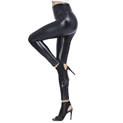 Brovollous Womens Faux Leather High Waisted Leggings, Sexy Stretchy Skinny Leather Tights Pants Black S at Amazon Women's Clothing store