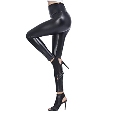 85bed00522dc5 Brovollous Womens Faux Leather High Waisted Leggings, Sexy Stretchy Skinny  Leather Tights Pants Black at Amazon Women's Clothing store: