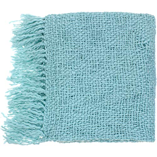 Single Piece Spa Blue Throw, Blanket, Machine Washable, Classic and Traditional Style, Solid Color Pattern, Knitted Designs, Soft Comfort, Cozy and Comfortable, Acrylic, Wool Material, Light Blue