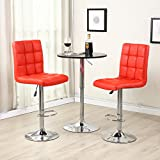 Allura Amenity Pair of Modern Bar Stools Adjustable PU Leather Barstools Swivel Pub Home Kitchen Dinning Chairs | Red