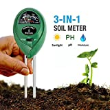 Soil pH Meter, CHINFAI 3-in-1 Soil Test Kit For Moisture, Light & pH,Indoor/Outdoors High Accurate & Easy Read Indicator (No Battery Needed)