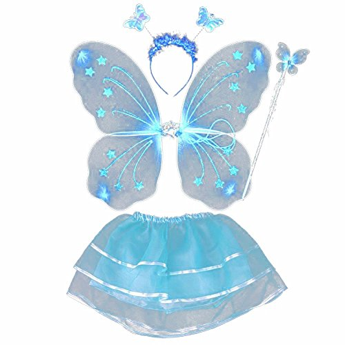 [Butterfly Princess 4 Piece Fairy Costume Wings, Headband, Wand and Tutu Accessory Set Assorted Colors] (Tinkerbell Fairy Costumes For Women)