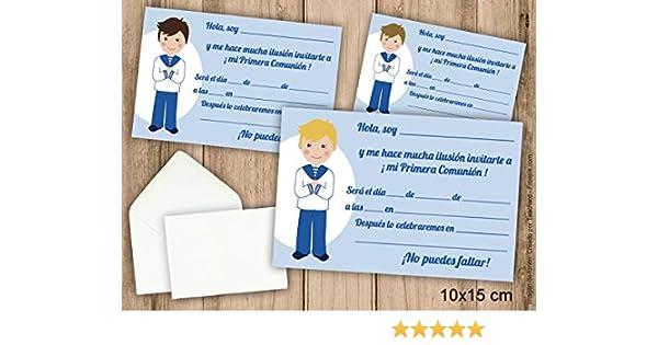Invitaciones de Primera Comunión niño con traje marinero. Pack 6 ...