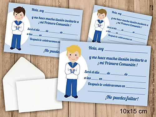 Invitaciones de Primera Comunión niño con traje marinero. Pack 6 udes. Con sobres.