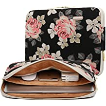 KAYOND Rose Pattern 13 inch Canvas laptop sleeve with pocket 13 inch 13.3 inch laptop case macbook air 13 case macbook pro 13 sleeve