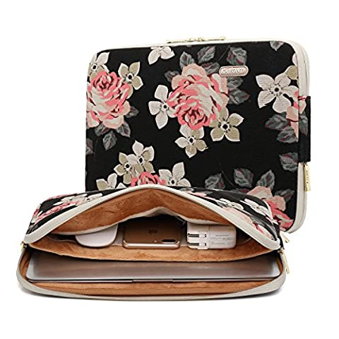 KAYOND Rose Pattern 11 inch Canvas laptop sleeve with pocket 11 inch 11.6 inch laptop case macbook air 11 case macbook 12 (11 Inch Apple Case)