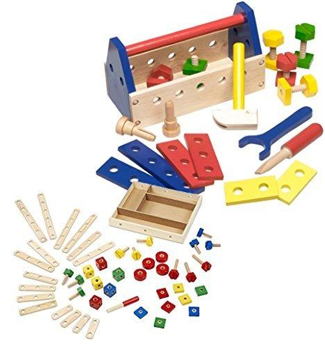 Bundle Includes 2 Items - Melissa & Doug Wooden Construction Building Set in a Box (48 pcs) and Melissa & Doug Take-Along Tool Kit Wooden Construction Toy (24 pcs)