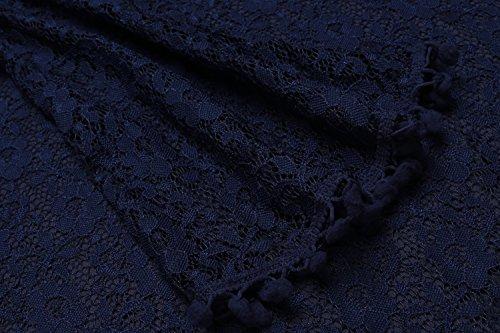 Fiesta Larga de Casual Vestido Soteer Manga Vestido sin Manga Corto azul Mujeres Mini Encaje ACvq7w